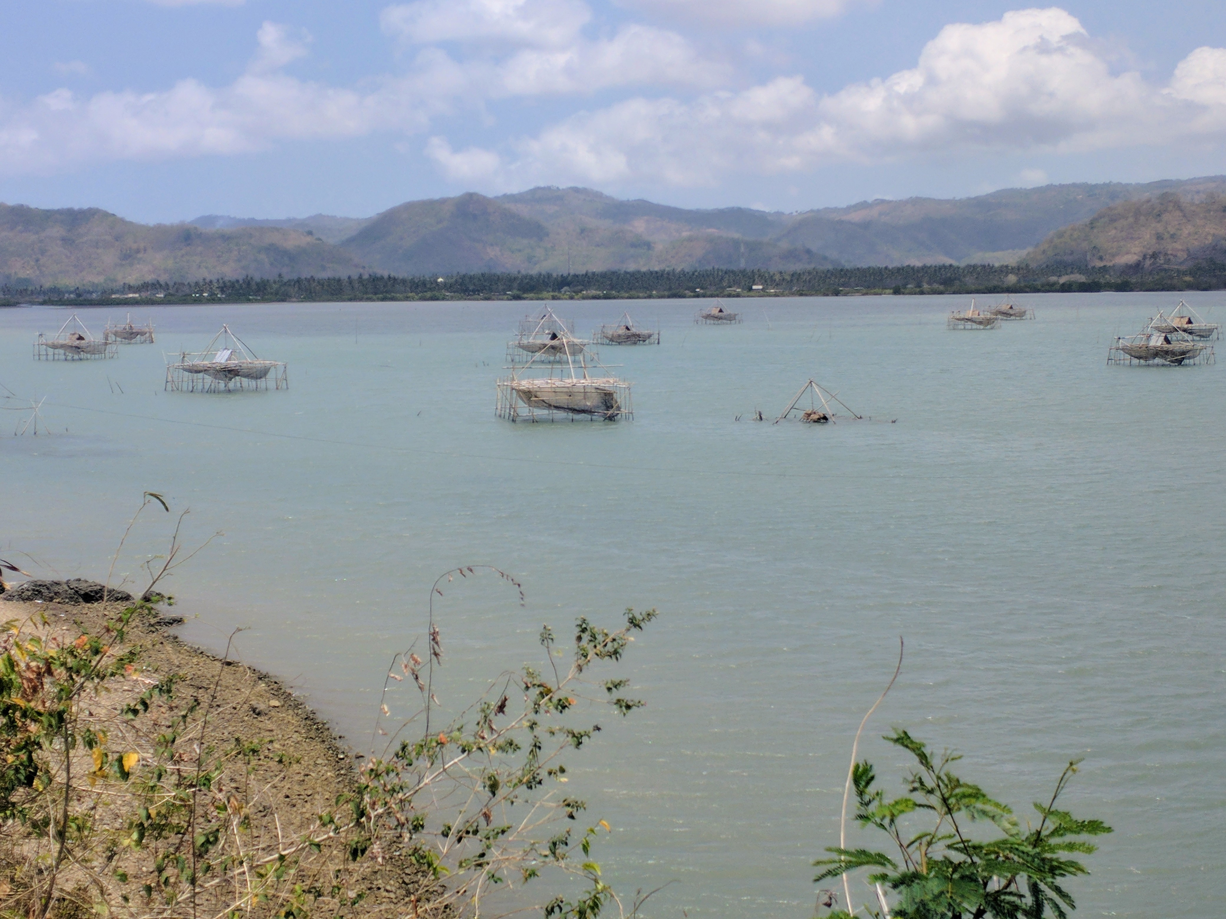 Huge fish platforms on the inner water ways of Lembar